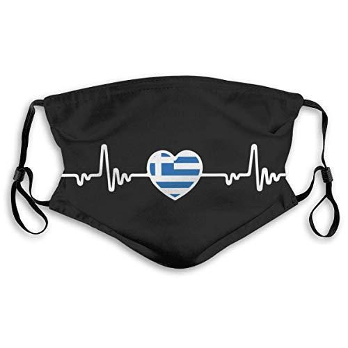 KINGAM Bandera griega Línea de latido Corazón Adultos Bandana Cara Cuello Polaina Cara Bufanda Mask-Dust, Transpirable Pesca Senderismo Correr Ciclismo
