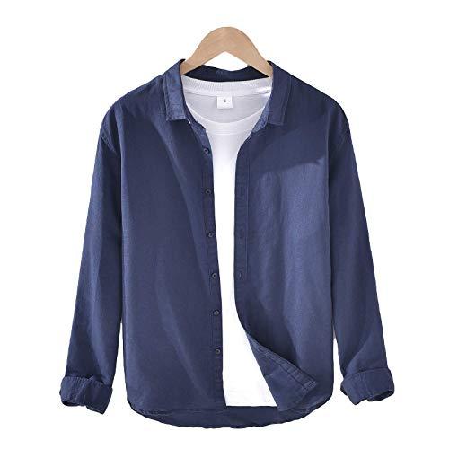 Camisa de Color sólido para Hombre Camisa clásica básica Informal de Manga Larga Camisa Ajustada de un Solo Pecho Tops Large