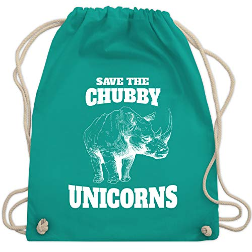Shirtracer Tiermotive Kind - Save the chubby unicorns sketchy white - Unisize - Türkis - Tierliebe - WM110 - Turnbeutel und Stoffbeutel aus Bio-Baumwolle