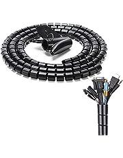 JINYJIA Kabelslang 2 m, flexibele kabelgoot organizer, universele kabelorganizer, voor kantoor, familie, kabelmanagement, zwart (2 m x 22 mm)