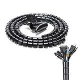 JINYJIA Organizador de Cables, 2M Flexible Funda Organizador Cables, Cubre Cables Organizador de Cables Mesa con Clip, 22mm x 2M, para Office y PC Escritorio, Negro