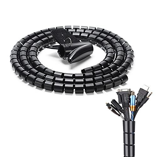 JINYJIA Organizador de Cables, 2M Flexible Funda Organizador Cables, Cubre Cables Organizador...