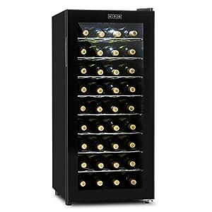 Klarstein Vivo Vino nevera para vino (capacidad de 36 botellas o 118 litros, temperatura regulable, puerta de cristal doble, diseño compacto y silenciosa) - negro