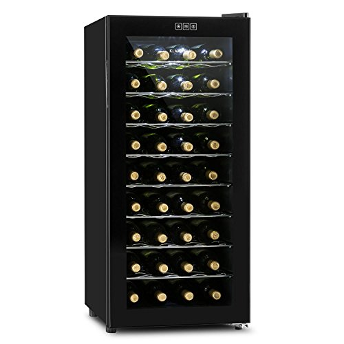 Klarstein Vivo Vino - wijnkoelkast, drankenkoelkast, gastro koelkast, 118 liter, 36 flessen, 120W, laag geluidsniveau, 10 ° - 18 ° C, LED lamp, glazen deur, zwart