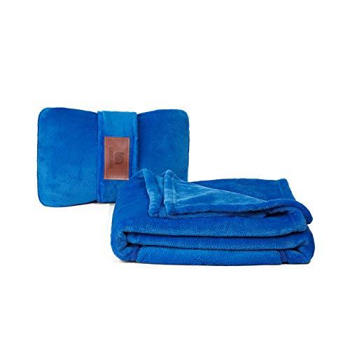 LEISIME Reisedecke 4-in-1 – leicht, warm und tragbar Die neuesten kleinen kompakten Flugzeugdecken und Kissen Set aus warmem Plüsch, ideal für Flugzeug, Auto, Zug, Reisen (Blau)