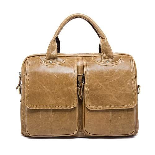 QSGNR Aktentasche Männer Aktentasche Leder Laptoptasche Männer Echtes Leder Tasche Für Männer Bussiness Umhängetasche Männer Büro Aktentasche C4 Gelb Braun
