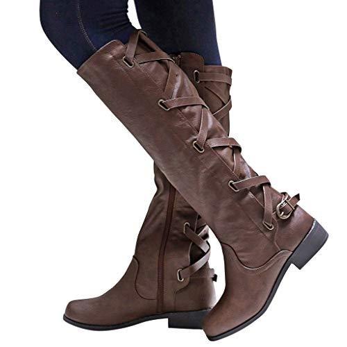 Hohe Stiefel Damen Vintage Stiefel Cowboystiefel mit Schnalle und Reissverschluss, Frauen Winterstiefel Langschaftstiefel Bequem Bikerstiefel Winter Warme Damenschuhe Celucke (Gelb, 38 EU)