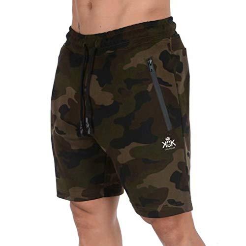 Pixeショートパンツ メンズ ハーフパンツ 短パン フィットネス スポーツ ジョギング ポケット付き 通気性 にファスナー付き ミリタリーグリーンM
