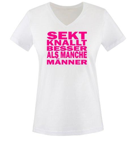 Sekt knallt Besser als Männer - Einfarbig - Damen V-Neck T-Shirt - Weiss/Pink Gr. S
