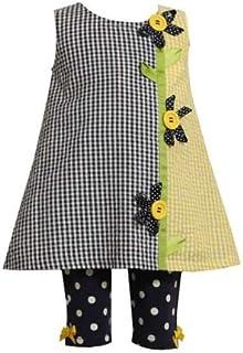 a76563bf444 Bonnie Jean Baby Girls Navy   Yellow Seersucker Flower Dress Set Outfit w   Leggings