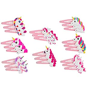 Rainbow Unicorn Hair Clips - 24-Pack Anti-Slip Snap Hairclips for Girls, Assorted Pink Unicorn-Themed Barrette Hair Pins, Ideal for Birthday Party Supplies Favors, Game Prizes 9