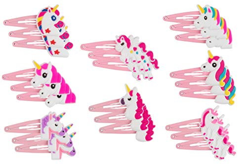 Rainbow Unicorn Hair Clips - 24-Pack Anti-Slip Snap Hairclips for Girls, Assorted Pink Unicorn-Themed Barrette Hair Pins, Ideal for Birthday Party Supplies Favors, Game Prizes 3