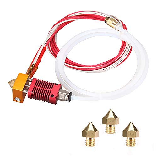 Düsenset für 3D-Drucker MK8 Hotend-Set, kompatibel mit Alfawise U20 U30 Creality Ender 3 Hotend-Set MK8 montiert mit Düse 0,4 mm, 24 V, 40 W