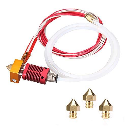 Kit de boquilla para impresora 3D MK8 Hotend Kit compatible con Alfawise U20 U30 Creality Ender 3 Kit de extremo caliente de extrusora MK8 ensamblada con boquilla 0,4 mm, 24 V 40 W