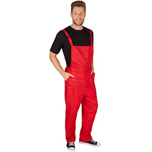 TecTake dressforfun Unisex Latzhose | Kostüm für Handwerker, Gärtner, Bauarbeiter, Neonlook oder auch Bad Tasteverkleidung (Rot | XXL | Nr. 301468)