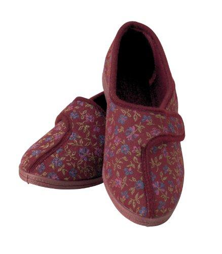 Homecraft wzorzyste kapcie dla kobiet, rozmiar 6, czerwone, wygodne kapcie z szerokim otworem na spuchnięte lub obolałe stopy, wygodne buty do noszenia w domu