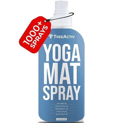 TreeActiv Yoga Mat Spray, Limpiador de esterillas de yoga, Accesorios de yoga y Limpiador de esterillas de gimnasio, Aceite esencial de árbol de té, Spray de limpieza natural, 4 fl oz (118 ml)