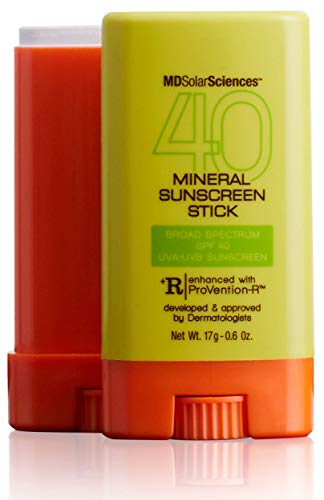 MDSolarSciences Mineral SunScreen Stick SPF 40   Lightweight, Oil-Free Formula, Broad UV Protection with Zinc Oxide, 80 Mins Water Resistance   0.6 Oz