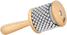 Eastar Cabasa Musical Instrument Percussion Instrument Hand Shaker with Stainless Steel Beads and Wooden Handle for Students Kids Classroom Band, Small Size