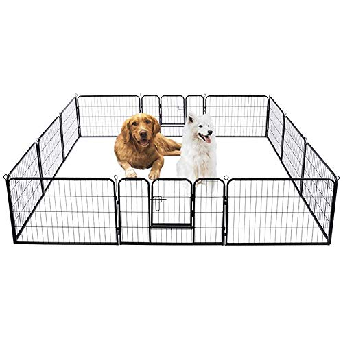 VIVOHOME 24'' 16 Panel Heavy Duty Metal Pet Fence Barrier Foldable Dog Puppy Cat Playpen Kennel with Door for Indoor Outdoor Exercise