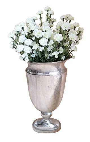 MichaelNoll vaas bloemenvaas pot bokaalvaas decoratieve ovaas aluminium zilver ovaal 66 cm