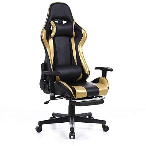 WSDSX Office Chairs Ergonomic Gaming Chair Home Office Computer Desk Chair with Lumbar Support and Padded Armrests Designed for Young Generation, Leather Exclusive Swivel Chair (Color :