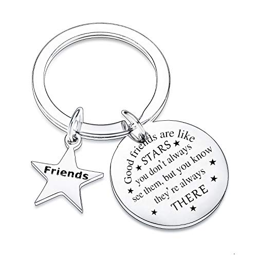 Friends Gifts Keyring Gifts for Friend Women Good Friends are Like Stars...