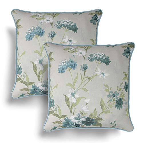 IT IDEAL TEXTILES Set of 2 Duck Egg Floral Cushion Covers, Pair of Blue Vintage Flowers Design Cotton Cushion Covers, Piped Trim Cushion Cases, Sofa Chair Throw Pillow Cases, 17' x 17', 43cm x 43cm