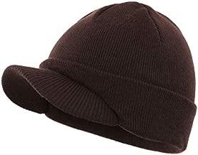 Home Prefer Mens Beanie Hat Knit Winter Hat with Brim Beanie Cap for Men Espresso