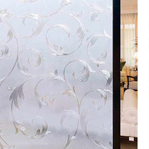 rabbitgoo Statische Fensterfolie Blickdicht Sichtschutzfolie selbsthaftend Milchglasfolie Sichtschutz Folie Dekofolie Anti-UV 90 x 200 cm