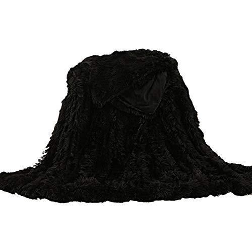 POHOVE - Manta de pelo sintético supersuave, cálida y mullida, para cama individual o doble, o para sofá, de 200 x 160 cm, 160 x 130 cm o 120 x 80 cm