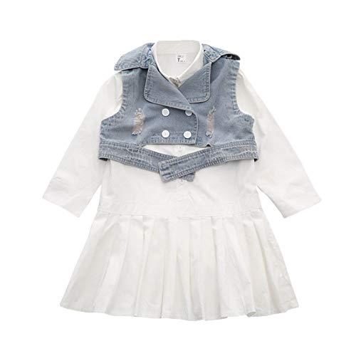 Runyue Mädchen Prinzessin Kleid Langarm + Jeansweste 2 Stücke Outfits Kleidung Set 130CM