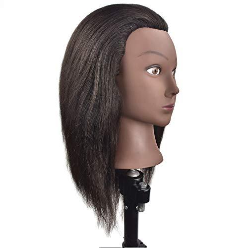 WOVELOT TêTe de Formation de Mannequin Afro avec Cheveux Longs de 35 Cm pour la Formation en éCole de Beauté et la Pratique Du Coiffeur