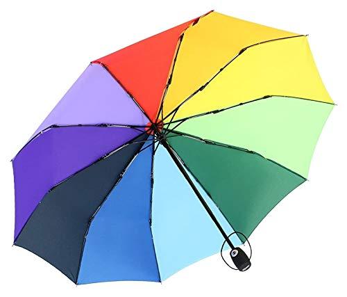 Modische und robuste Regenschirm-Regenbogen-Regenschirmautomatische Öffnung und Schließung von Herren- und Damenmode-Regenschirm-Sonnencreme, winddicht, regensicherer multifunktionaler Regenschirm