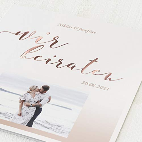 sendmoments Hochzeitskarten Einladung, Zweisamkeit, 5er Klappkarten-Set quadratisch, personalisiert mit Text & Fotos, mit Roségold Veredelung, optional passende Design-Umschläge