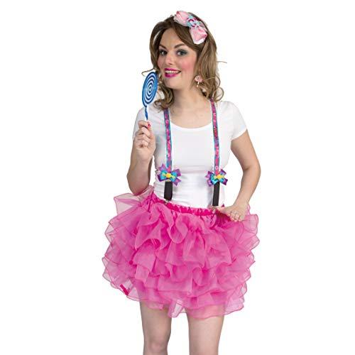 NET TOYS Lustige Retro Hosenträger Candy-Girl - Originelles Damen-Kostüm-Zubehör Bundhalter Lollipop - EIN Blickfang für Mottoparty & Karneval