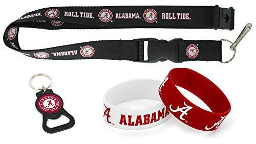 aminco NCAA Alabama Crimson Tide Team Lanyard, Black Bottle Opener Keyring and Rubber Wristbands Gift Bundle