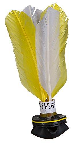 PiNAO Sports - Handfederball Shuttle, [Indiaka, Peteca, Federball, Federn, Gummi] (Weiß/Gelb)
