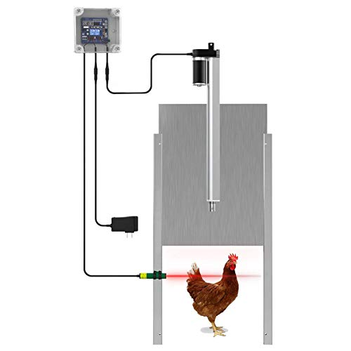 Anbt Chicken Coop Auto Door Opener Kit Door Opener & Closer with Light Sensor Rainproof Outdoor Controller Actuator Motor,Remote Control Poultry Coop (Timer Version)