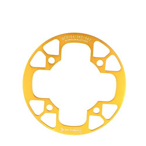 NINI Guardia Protectora de radios de la Rueda de Bicicleta, Cubierta Protectora de Anillo de Cadena de aleación de Aluminio 104 BCD para 32~34T 36~38T 40~42T Parrockets de Plato,Amarillo,32T to 34T