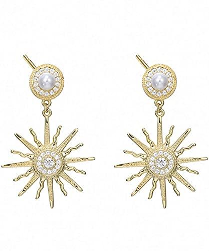 CEXTT S925 Pendientes de plata esterlina 18k moda chapado en oro creativo girasol inlay shell perla y zirconia cúbica anillo anual de la joyería de temperamento personal, hombres y mujeres son adecuad