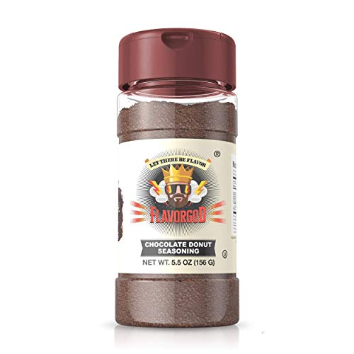 Flavor God Seasonings- Chocolate Donut Topper | One 5.5oz Bottle | Healthy Seasoning | Great for Added Flavor | No Calories, No MSG, No Fat, No Gluten, Dairy Free | Made in The USA