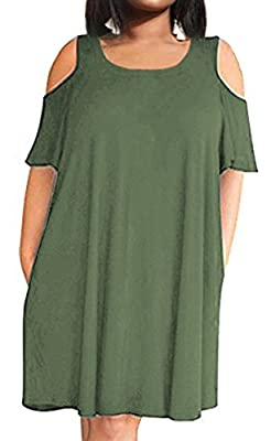POSESHE Women's Cold Shoulder Plus Size Casual T-Shirt Swing Dress with Pockets