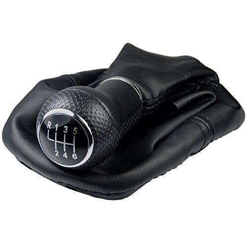 L & P Car Design L&P A254-6 Schaltsack Schaltmanschette Schwarz Schaltknauf 6 Gang 12mm kompatibel mit VW Golf 4 IV Rahmen Knauf Plug Play Ersatzteil für 1J0711113