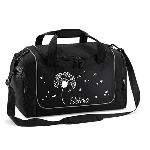 Mein Zwergenland Sporttasche Kinder personalisierbar 38L, Kindersporttasche mit Name und Pusteblume Bedruckt in Schwarz
