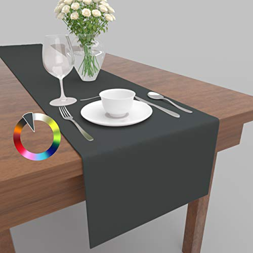 Rollmayer Hochwertiger Tischläufer Tischwäsche Uni einfarbig Pflegeleicht Kollektion Vivid, Farbe & Größe wählbar (Grafit 33, 30x100cm)