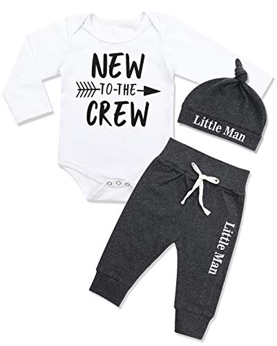 Newborn Baby Boy Clothes New to The Crew Letter Print Romper+Pants+Hat 3PCS Outfits Set 0-3 Months