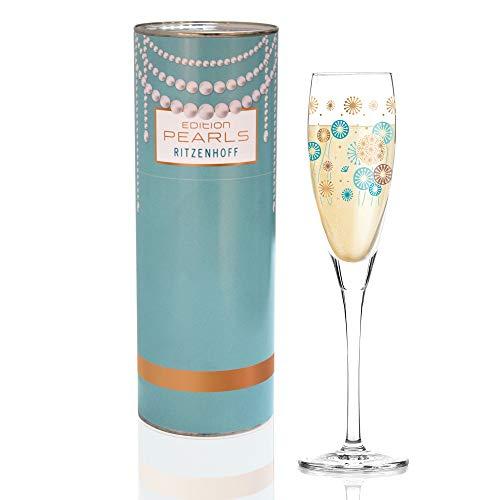 RITZENHOFF 3250023 Pearls Edition Prosecco Verre, Cristal, Turquoise/Bleu pétrole/Or Rose, 3,8 x 3,8 x 11,1 cm