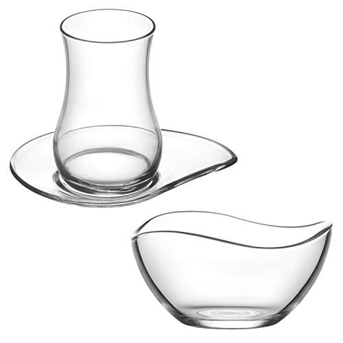 Kaiser-Handel.de 36 Teilig Tee Gläser Set Cay bardaklari aus der Türkei 12 Gläser 12 Untertassen 12 Knabber Schalen Evas2
