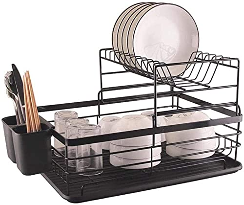 Dish Drying Rack Dish Drainer Dish Drying Rack, 2-Tier Stainless Steel Dish Rack with Tableware Utensil Holder Drainer, Stainless Steel Utensil Holder Countertop Space Saver Organizer and Storage